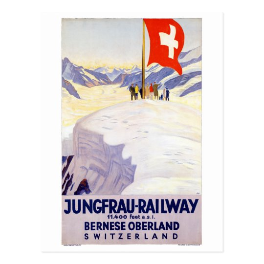 Switzerland Jungfrau Railway Vintage Poster Postcard