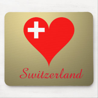 Switzerland love heart mouse pad
