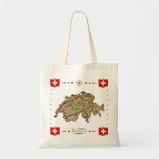 Switzerland Map + Flags Bag