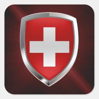 Switzerland Metallic Emblem Square Sticker
