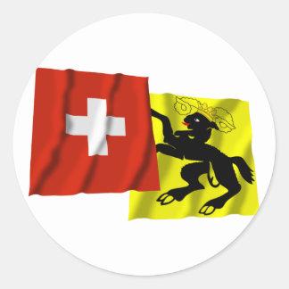 Switzerland & Schaffhausen Waving Flags Round Sticker