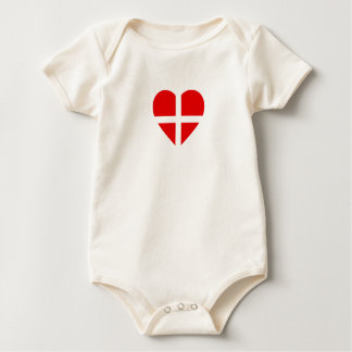 Switzerland/Swiss Flag-Inspired Hearts Baby Bodysuit