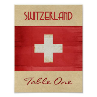 Switzerland Table Number Poster