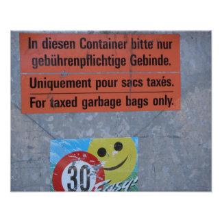 Switzerland,   Taxed garbage bags only Poster