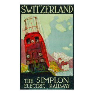 Switzerland Travel Poster, Electric Railway Poster