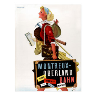 Switzerland Vintage Travel Poster Postcard
