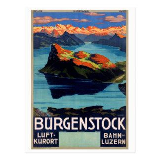 Switzerland Vintage Travel Poster Restored Postcard