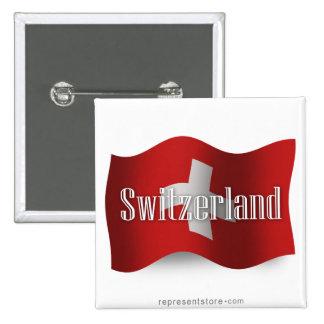 Switzerland Waving Flag 15 Cm Square Badge