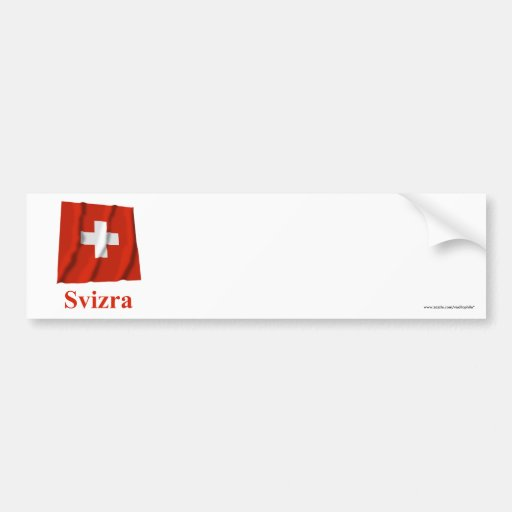 Switzerland Waving Flag with Name in Raeto-Romance Bumper Stickers