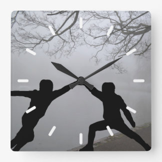 Sword Fight Square Wall Clock