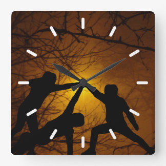 Sword Fighters Square Wall Clock