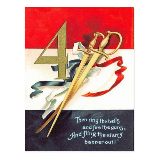 Sword Sabre Red White Blue Postcard