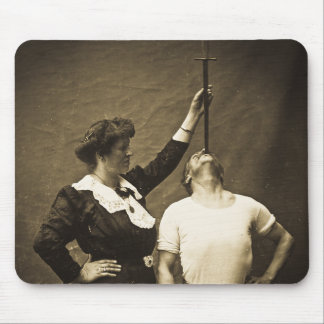 Sword Swallower and  Wife Vintage Sideshow Freaks Mouse Pad