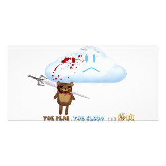 Sword through bear's head and cloud picture card