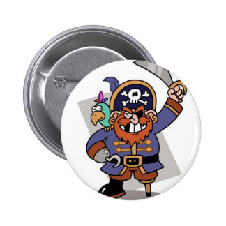 Sword-Waving Pirate 6 Cm Round Badge