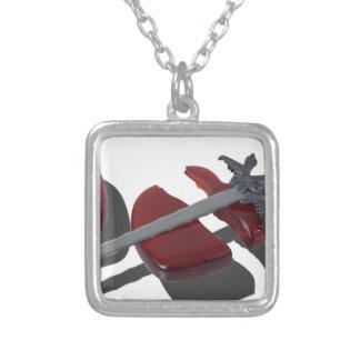 SwordBrokenGlassHeart012915 Square Pendant Necklace