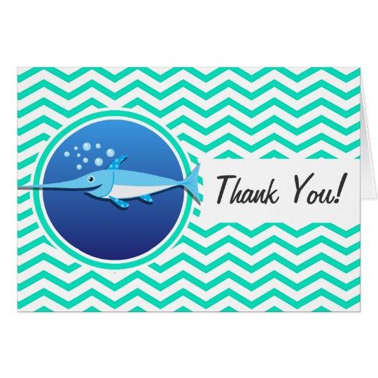 Swordfish; Aqua Green Chevron Card