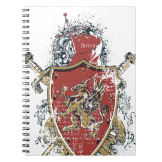 swords and red design notebooks