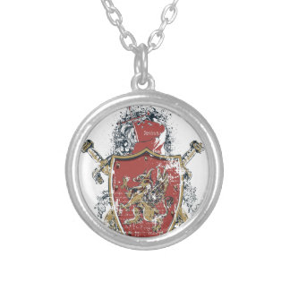swords and red design silver plated necklace