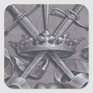 Swords Crown and Heart Square Sticker