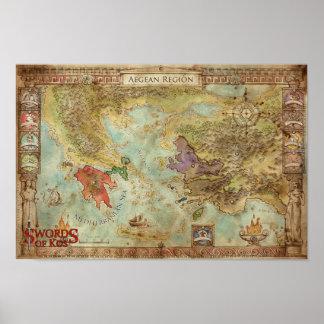 Swords of Kos: Aegean Regional Campaign Map Poster