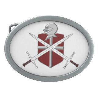 Swords, shield and Knights helmet Belt buckle