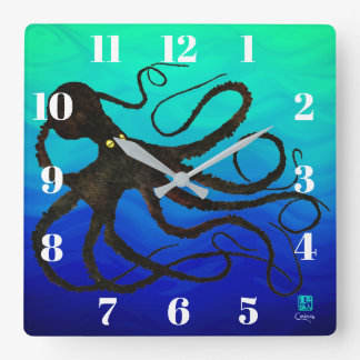 Sybille's Octo On Blue Green - Square Wall Clock