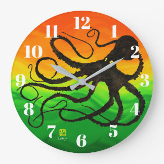 Sybille's Octo On Red To Green - Round Wall Clock
