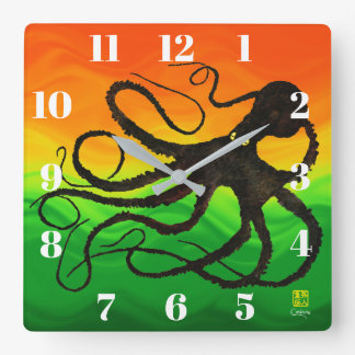 Sybille's Octo On Red To Green - Square Wall Clock