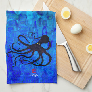 Sybille's Octopus On Blue Waves - Kitchen Towel
