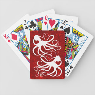 Sybille's Octopus On Red - Bicycle Playing Cards