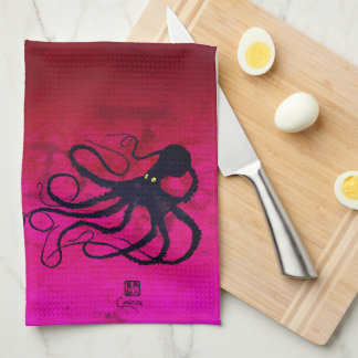 Sybille's Octopus On Red/Pink - Kitchen Towel