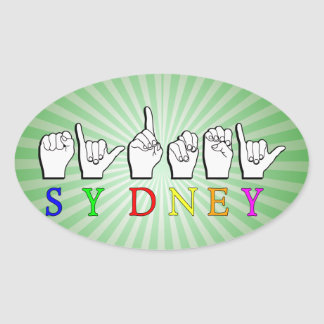 SYDNEY  ASL FINGERSPELLED SIGN OVAL STICKER