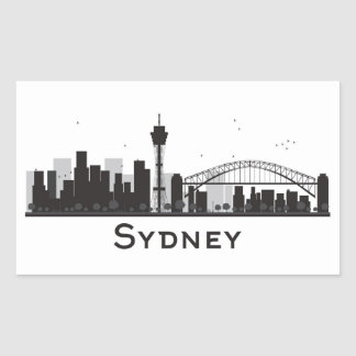 Sydney, Australia | Black & White City Skyline Rectangular Sticker