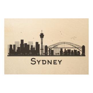 Sydney, Australia   Black & White City Skyline Wood Wall Art