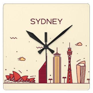 Sydney, Australia | Doodle Skyline Square Wall Clock