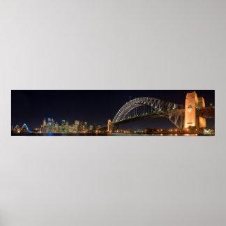 Sydney australia Harbour Bridge at night panorama Poster