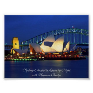 Sydney Australia, Opera by Night - Poster Print