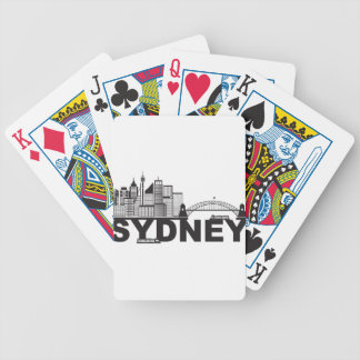 Sydney Australia Sklyine Text Outline Bicycle Playing Cards