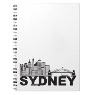 Sydney Australia Sklyine Text Outline Notebook