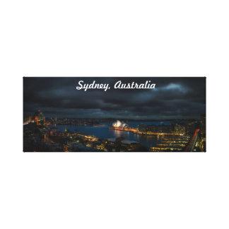 Sydney Australia Stormy Cityscape At Night Canvas Print