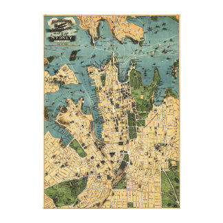 Sydney, AustraliaPanoramic Map Stretched Canvas Prints