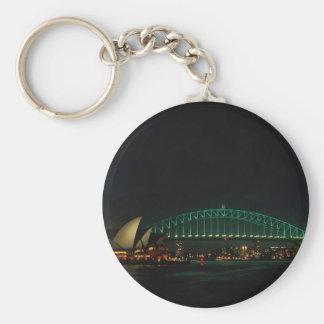 Sydney Bridge and Opera House at night, Australia Basic Round Button Key Ring