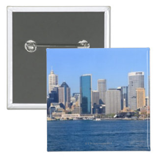 Sydney city panorama 15 cm square badge