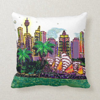 Sydney Harbour Australia by Sequin Dreams Studio Cushion