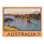 Sydney Harbour Australia Vintage Travel Poster Postcard