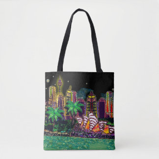 Sydney Harbour Black Sky by Sequin Dreams Studio Tote Bag