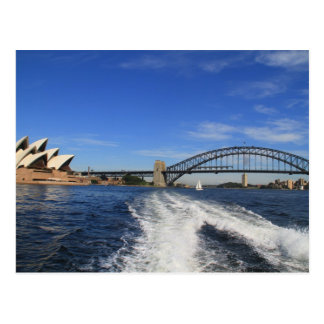 Sydney Harbour Bridge and Opera House from a ferry Postcard