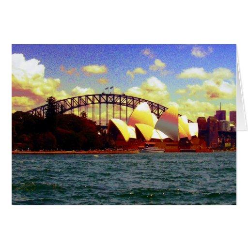 Sydney harbour stylised greeting card zazzle