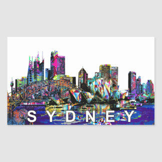 Sydney in graffiti rectangular sticker